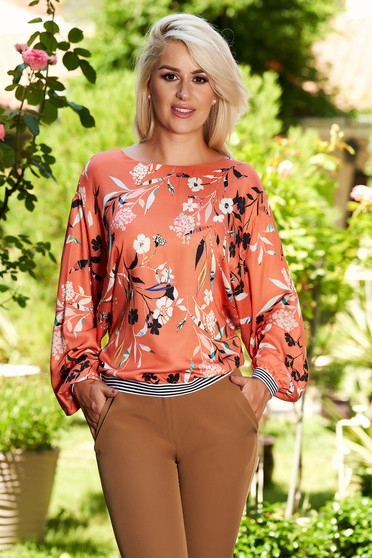 Red long sleeve flared women`s blouse with floral print