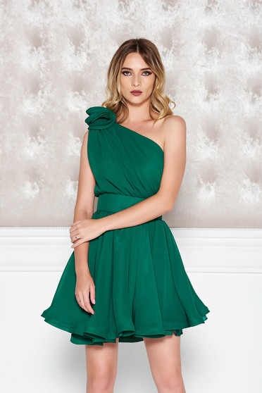 Ana Radu darkgreen one shoulder cloche dress from veil fabric with inside lining luxurious