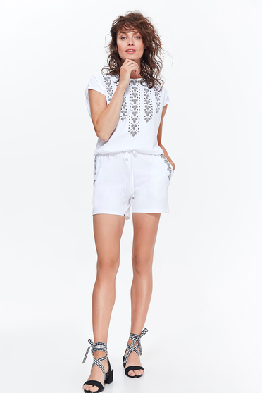 Top Secret white casual cotton jumpsuit is fastened around the waist with a ribbon with pockets