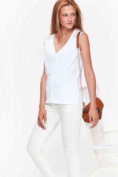 Top Secret white women`s blouse casual flared nonelastic cotton with v-neckline