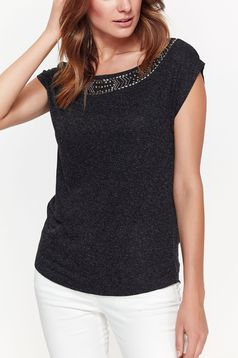 Top Secret grey women`s blouse flared elegant nonelastic fabric with small beads embellished details