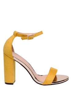 Top Secret yellow sandals elegant chunky heel from ecological leather