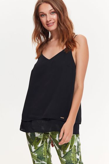 Top Secret black top shirt casual with easy cut airy fabric with v-neckline