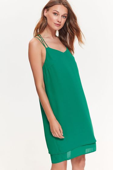 Top Secret darkgreen dress elegant flared airy fabric with straps