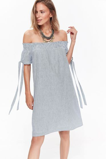 Top Secret blue dress casual cotton flared on the shoulders