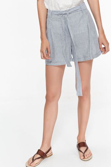 Top Secret darkblue short casual nonelastic cotton with medium waist accessorized with tied waistband