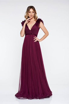 Ana Radu purple luxurious dress from tulle with inside lining with deep cleavage with push-up cups