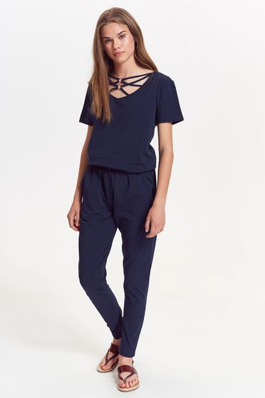 Top Secret darkblue jumpsuit casual slightly elastic cotton with easy cut short sleeve