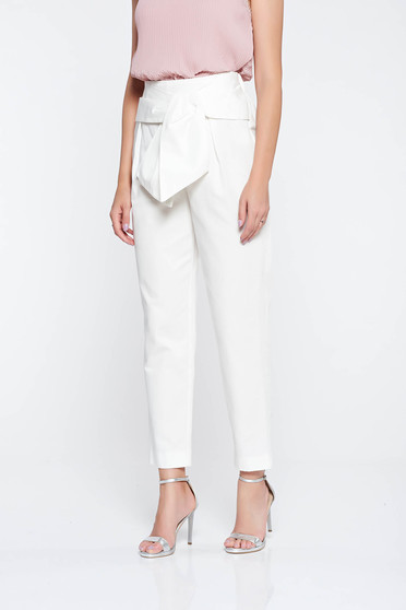 White elegant conical cotton trousers high waisted