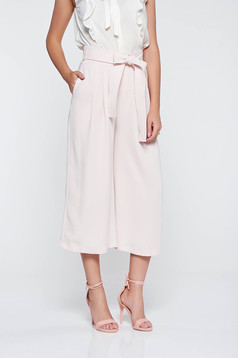 Elegant rosa trousers high waisted airy fabric with pockets accessorized with tied waistband