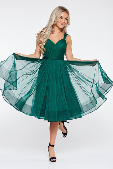 Ana Radu green cloche dress with push-up cups luxurious from tulle with inside lining