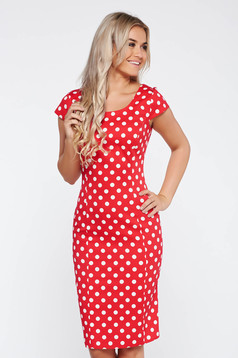 Red office pencil dress flexible glazed cotton with dots print