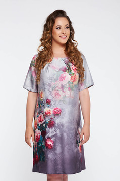 Grey elegant flared dress from satin fabric texture with floral prints