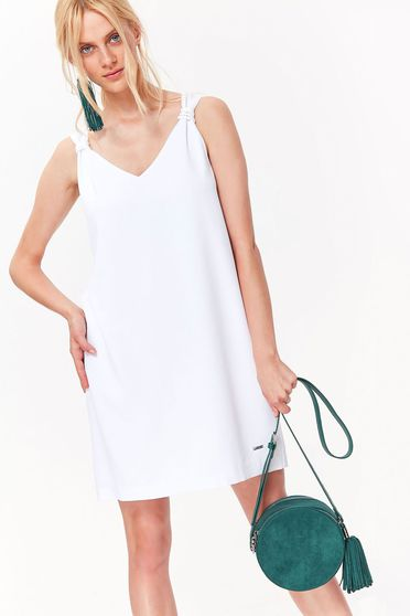 Top Secret white daily flared dress nonelastic fabric with v-neckline