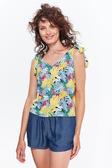 Top Secret yellow casual flared women`s blouse airy fabric with floral prints