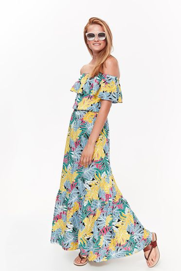 Top Secret yellow casual dress airy fabric with elastic waist with floral prints