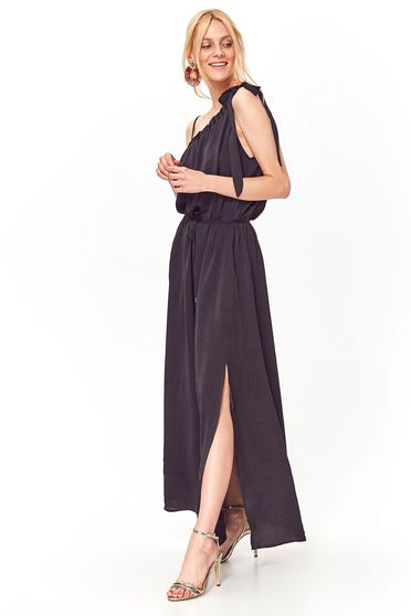 Top Secret black casual flared dress nonelastic fabric is fastened around the waist with a ribbon