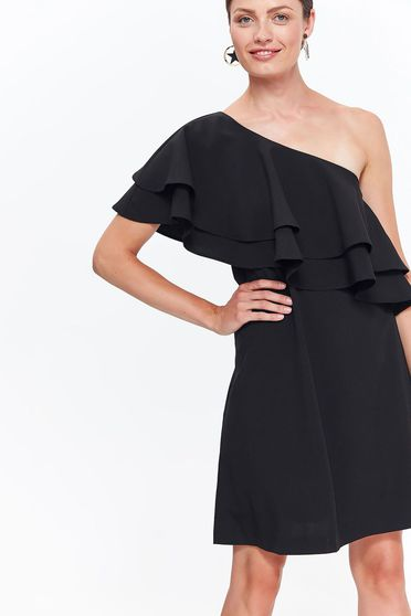 Top Secret black elegant dress slightly elastic fabric with ruffles on the chest flaring cut