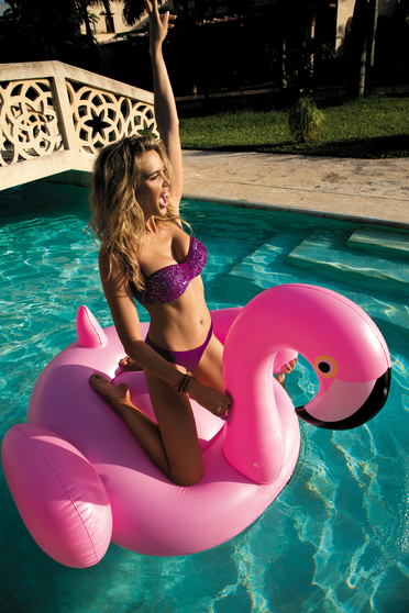 Purple swimsuit with classical slip with balconette bra with push-up cups adjustable straps with sequin embellished details
