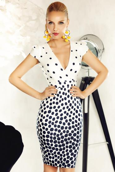 Fofy white office pencil dress from soft fabric with v-neckline with dots print