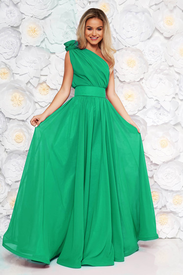 Green Ana Radu luxurious cloche dress from veil fabric with inside lining accessorized with tied waistband long