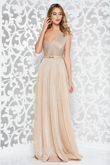 Ana Radu gold luxurious dress with inside lining accessorized with tied waistband shimmery metallic fabric
