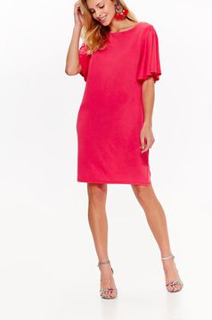 Top Secret pink casual flared dress from soft fabric short sleeves