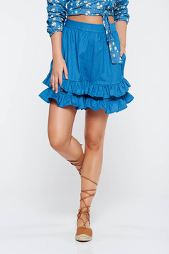StarShinerS blue short casual high waisted nonelastic cotton with ruffle details with pockets