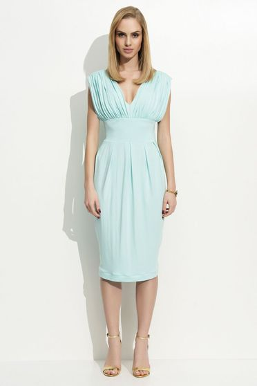 Folly mint dress clubbing sleeveless midi with v-neckline thin fabric