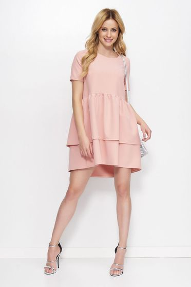 Makadamia rosa dress elegant asymmetrical flared with ruffle details slightly elastic fabric