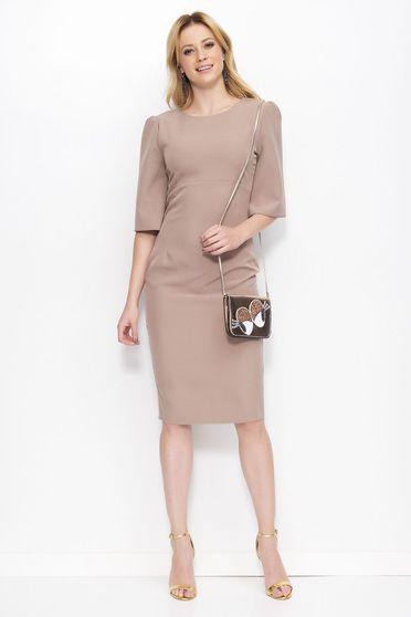 Makadamia brown dress elegant pencil midi slightly elastic fabric with round collar