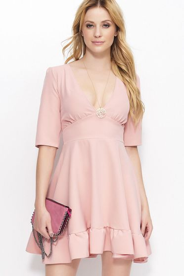 Makadamia rosa dress elegant with a cleavage 3/4 sleeve short cut thin fabric