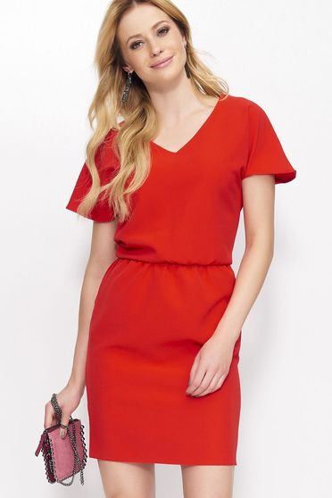 Makadamia casual short sleeve short cut thin fabric with elastic waist red dress