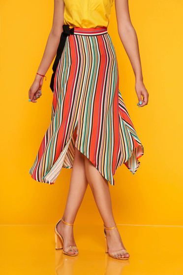 Orange casual asymmetrical cloche skirt high waisted thin coloured stripes