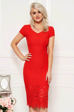 Red elegant pencil dress slightly elastic fabric with inside lining with cut out material