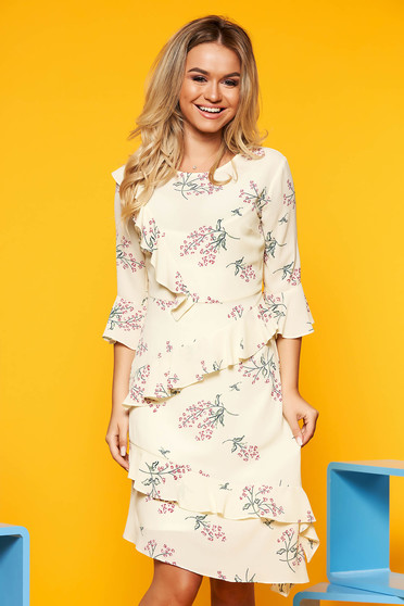 Yellow elegant asymmetrical dress airy fabric with inside lining with ruffle details