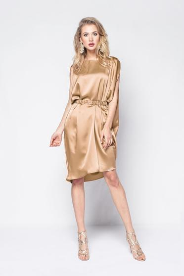 PrettyGirl gold dress clubbing from satin fabric texture with easy cut accessorized with tied waistband