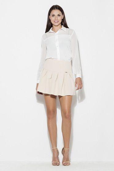 Katrus nude skirt casual cloche short cut thin fabric with medium waist