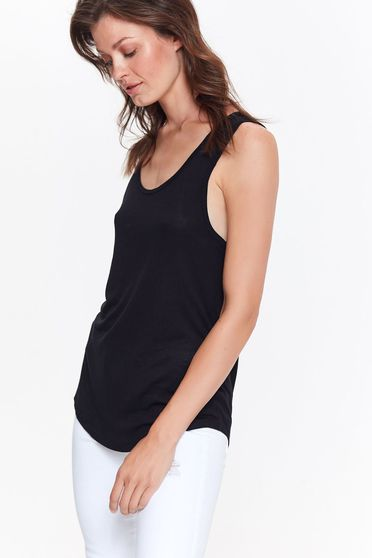 Top Secret black top shirt casual flared thin fabric nonelastic fabric