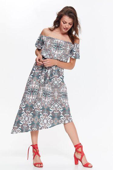 Top Secret white casual asymmetrical off shoulder dress airy fabric