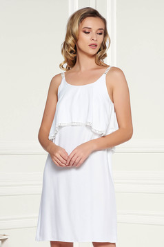 StarShinerS white casual flared dress airy fabric nonelastic fabric with straps