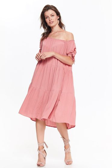 Top Secret rosa casual off shoulder flared dress airy fabric