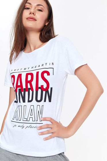 Top Secret white casual t-shirt nonelastic cotton with print details texted with easy cut