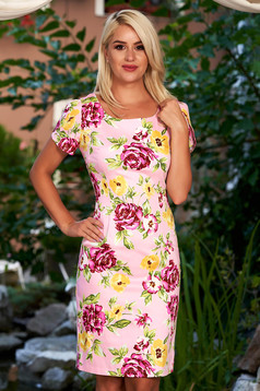 Rosa daily pencil dress elastic cotton with floral prints midi