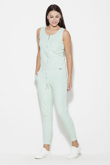 Katrus mint jumpsuit casual sleeveless thin fabric with laced details with pockets
