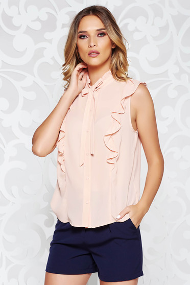 Elegant flared rosa women`s shirt airy fabric with ruffle details
