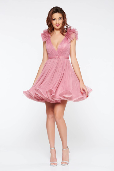 Ana Radu rosa luxurious cloche dress from tulle with inside lining with deep cleavage