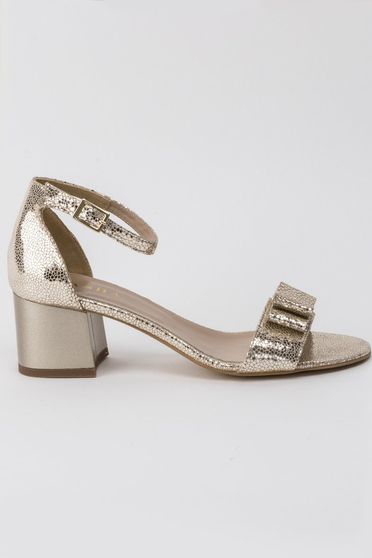 Gold sandals elegant natural leather bow accessory chunky heel