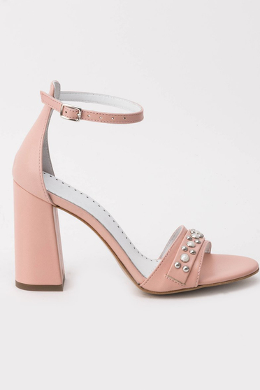 Rosa sandals elegant natural leather chunky heel with pearls