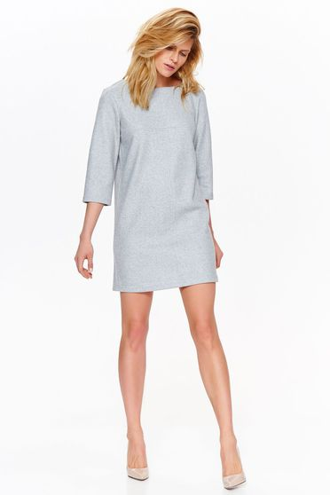 Top Secret grey casual elegant dress with straight cut nonelastic fabric